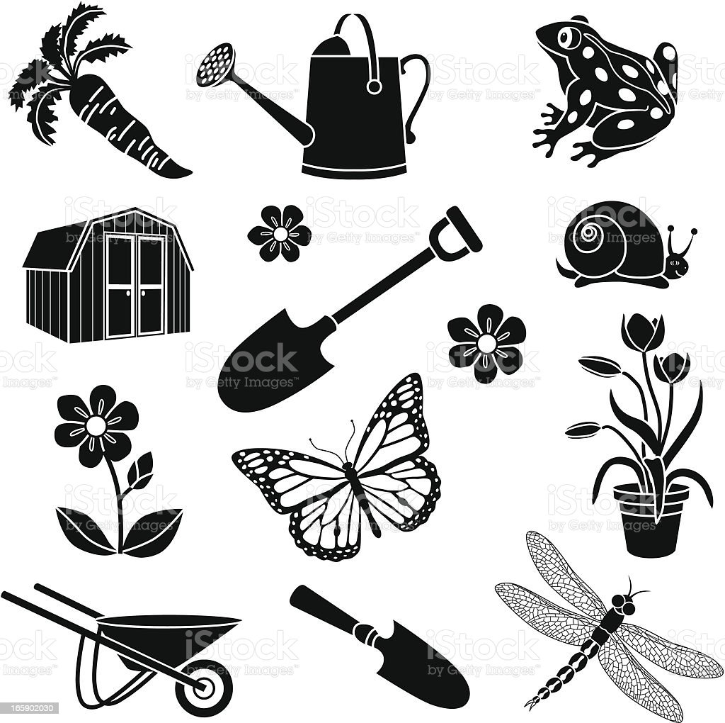 gardening icons royalty-free stock vector art