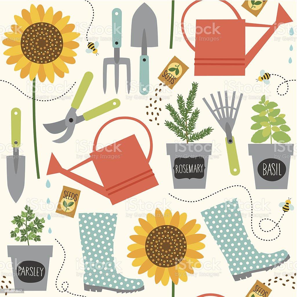 Gardening pattern vector art illustration
