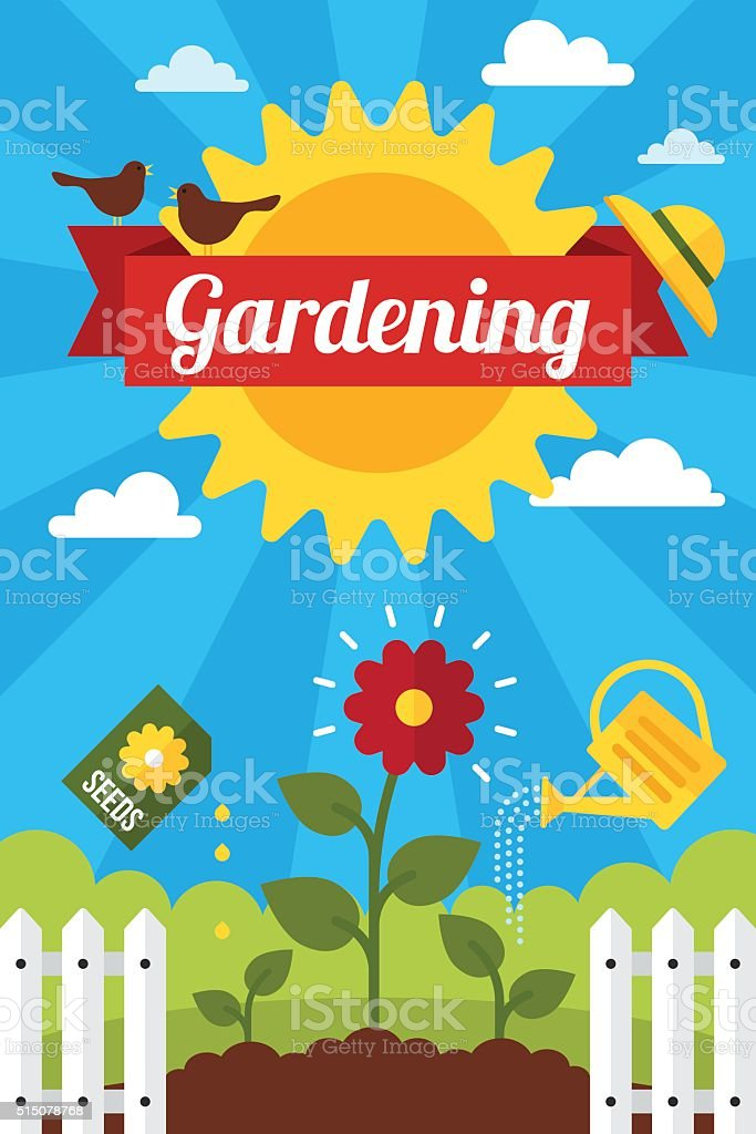 Gardening poster vector art illustration
