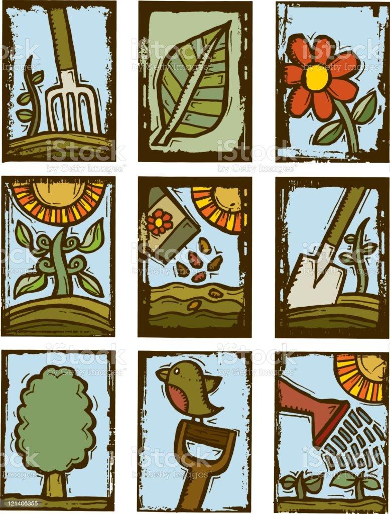 Gardening prints vector art illustration