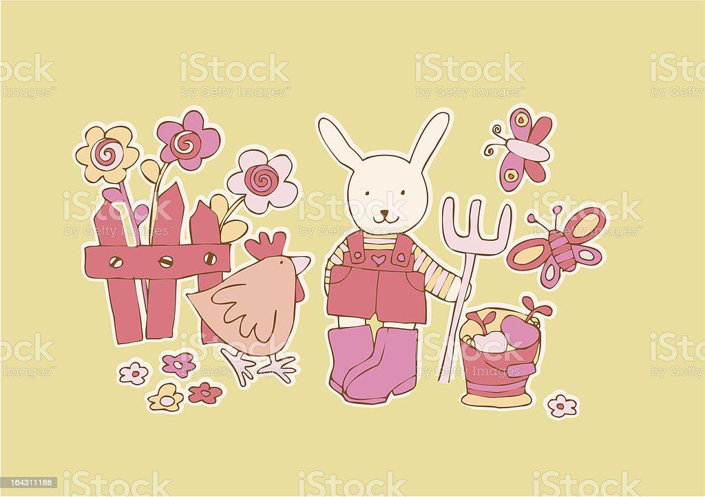 gardening rabbit royalty-free stock vector art
