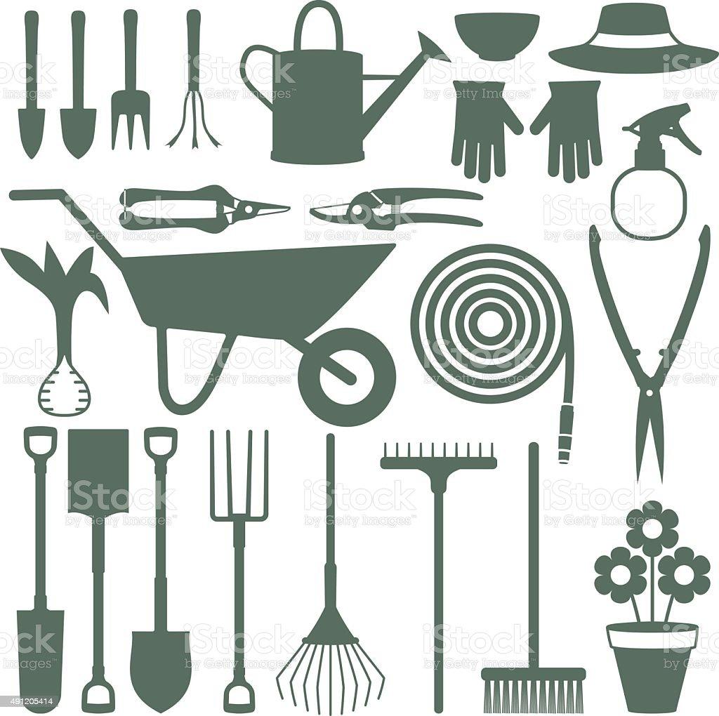 Gardening related vector icons 1 vector art illustration