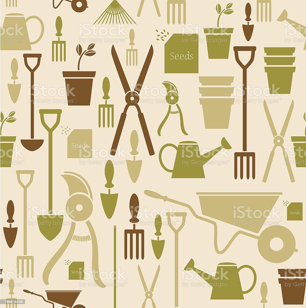 Gardening Repeat Pattern vector art illustration