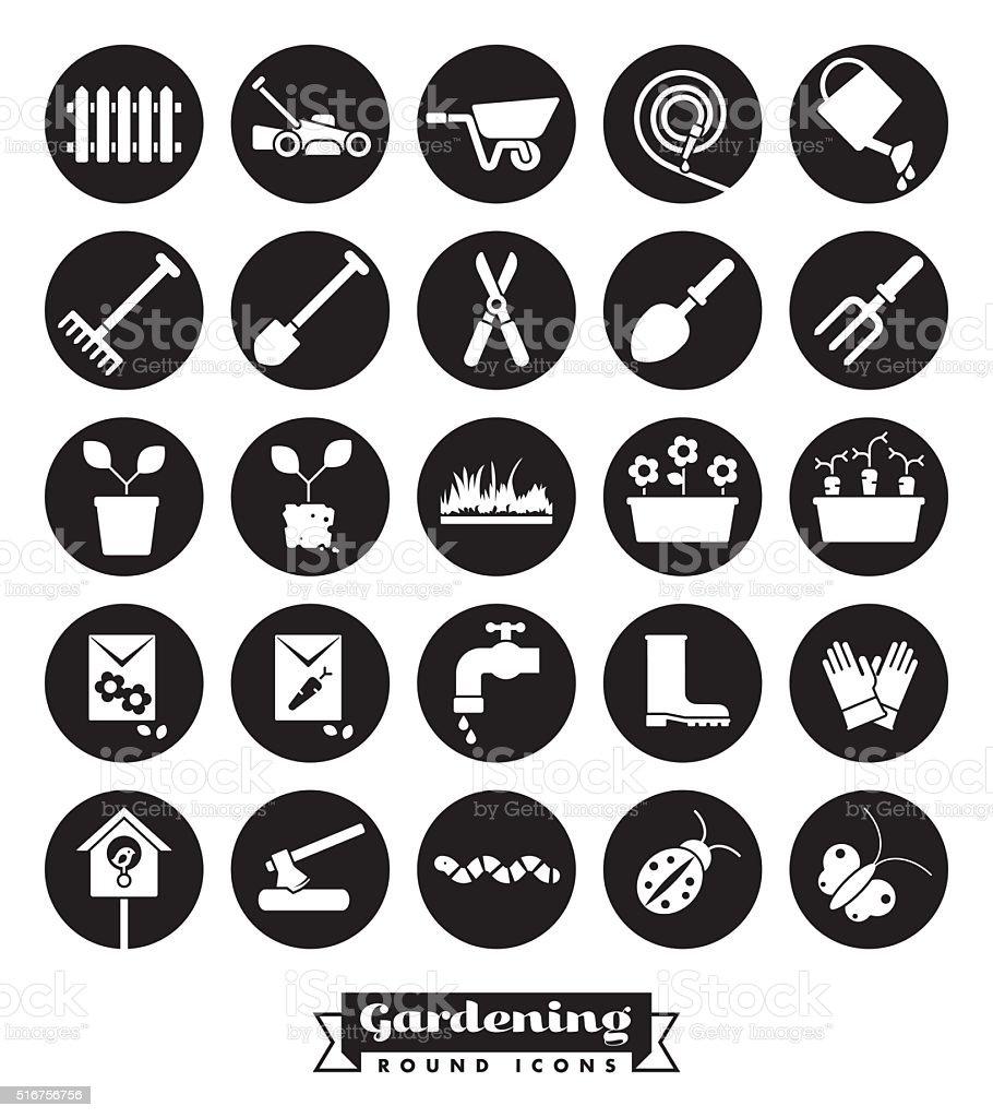 Gardening Round Icon Set vector art illustration
