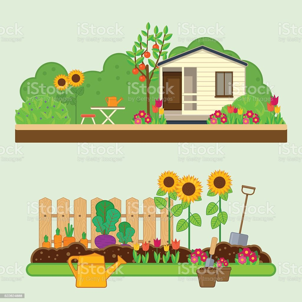 Gardening set. Illustrations with garden, cottage and garden tools vector art illustration
