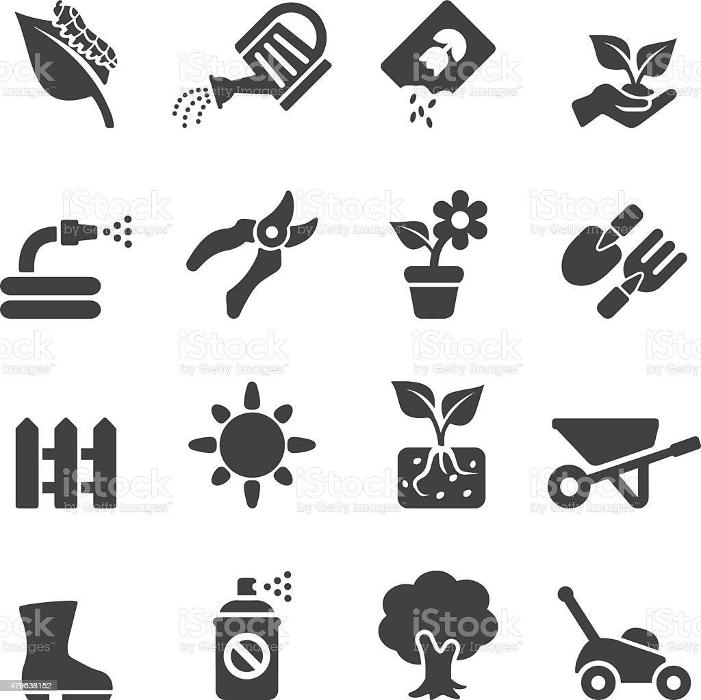 Gardening Silhouette icons | EPS10 vector art illustration