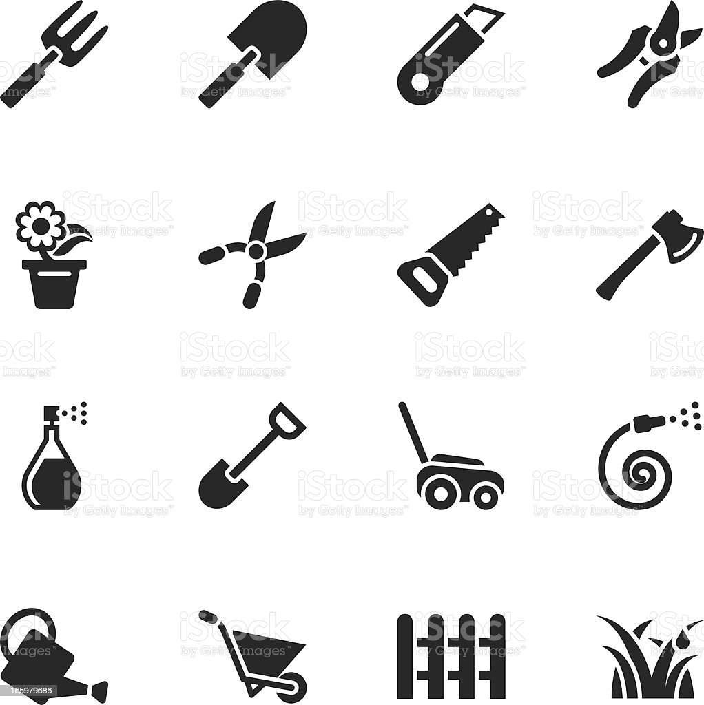 Gardening Silhouette Icons vector art illustration