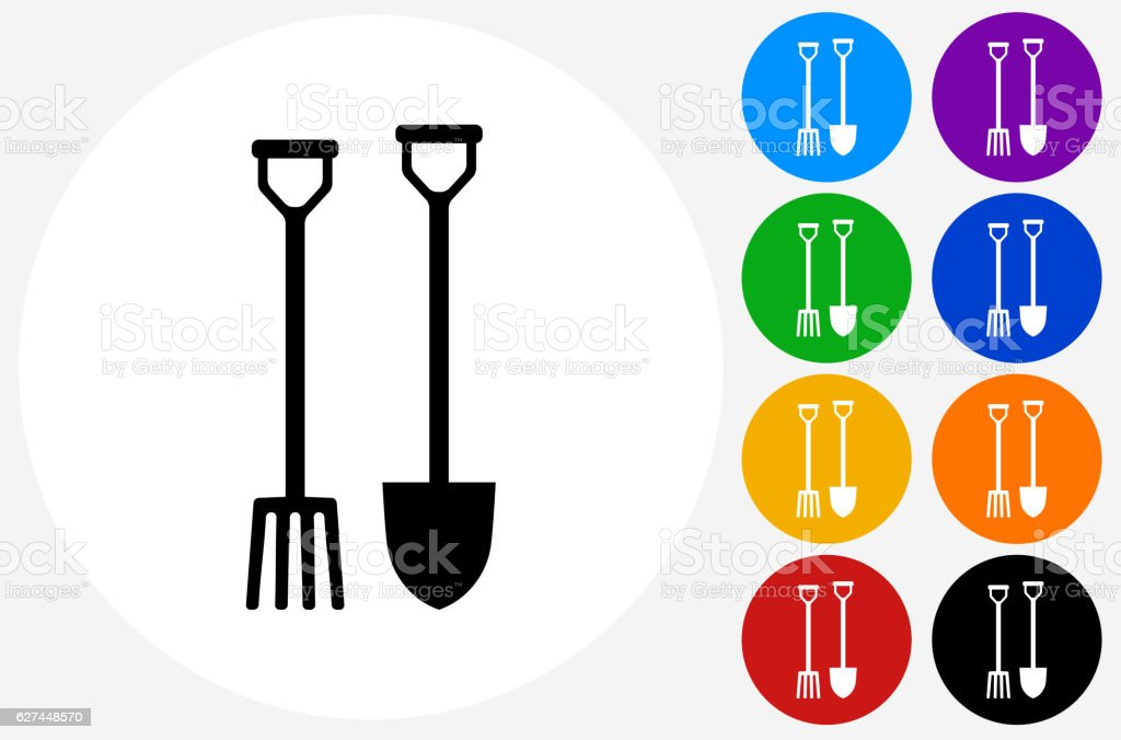 Gardening Spade and Fork Icon on Flat Color Circle Buttons vector art illustration