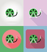 gardening tool hose for watering flat icons vector illustration