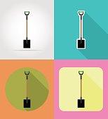 gardening tool shovel flat icons vector illustration