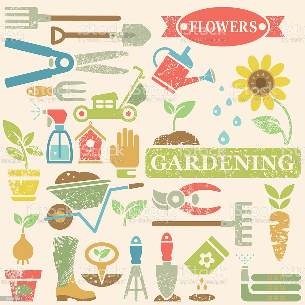 Large Group of Garden Gardening Tools Flowers And Obects Icons vector art illustration