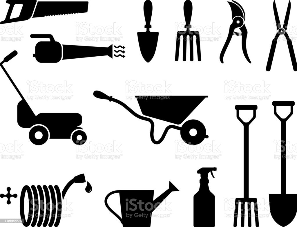 Gardening tools black and white vector art illustration