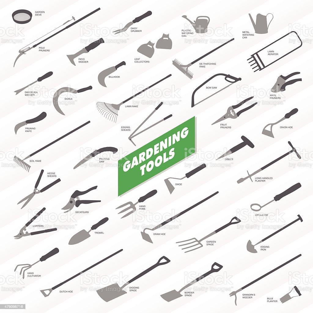 Gardening Tools Collection vector art illustration
