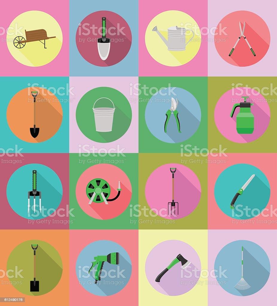 gardening tools flat icons vector illustration vector art illustration
