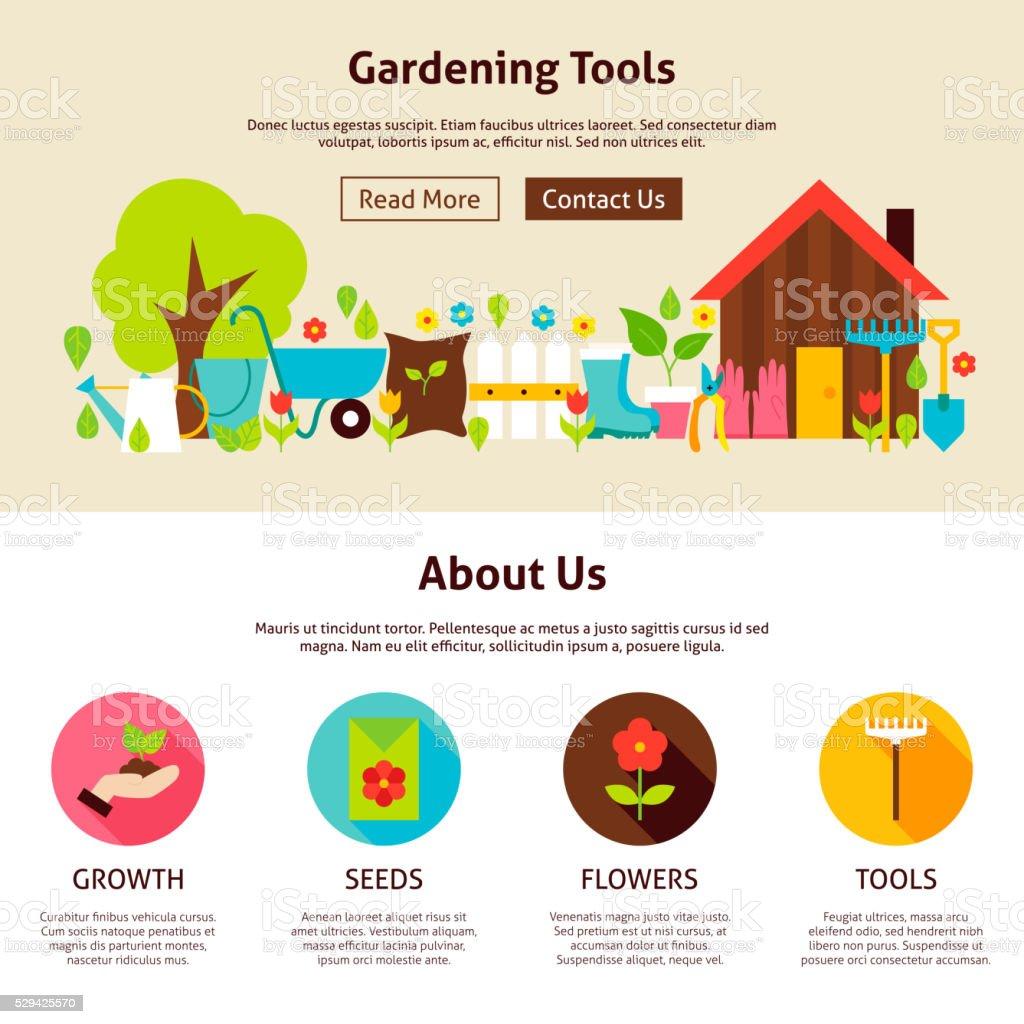 Gardening Tools Flat Web Design Template vector art illustration