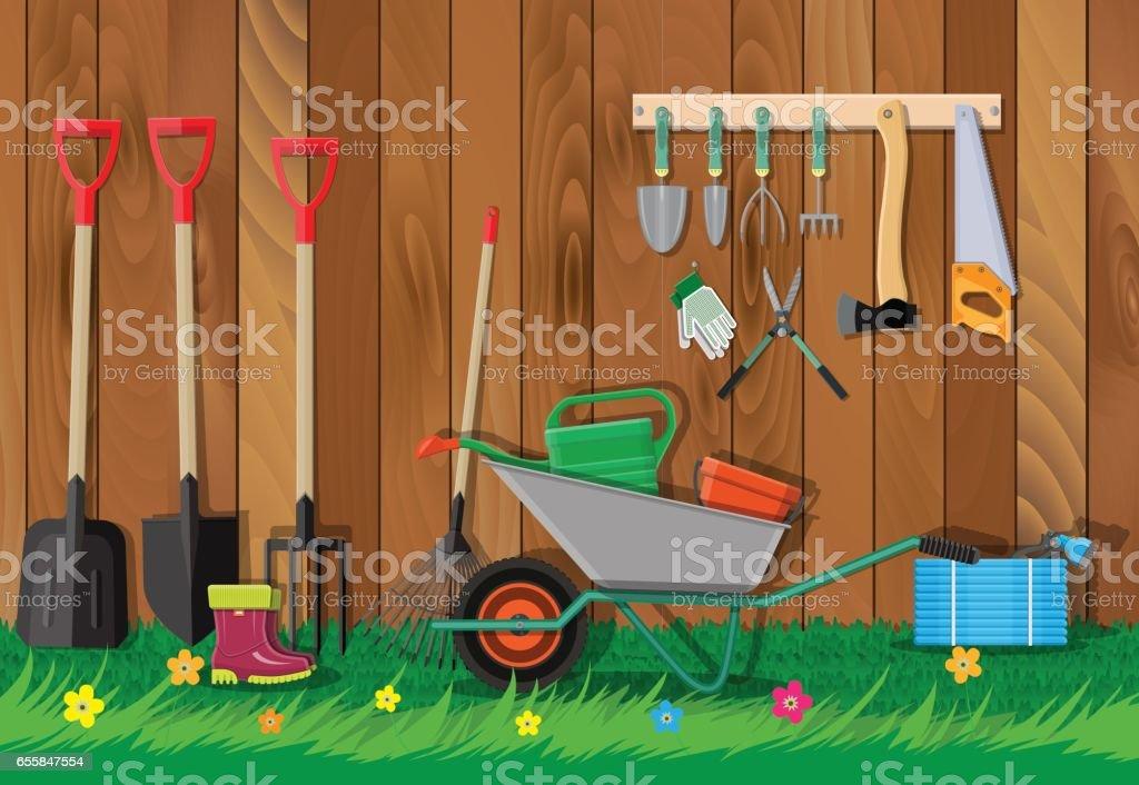 Gardening tools set. Equipment for garden vector art illustration