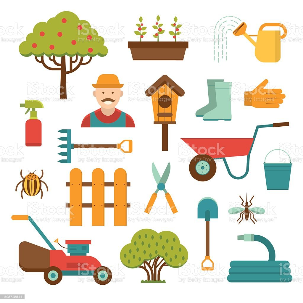 Gardening tools vector icons isolated on white background vector art illustration