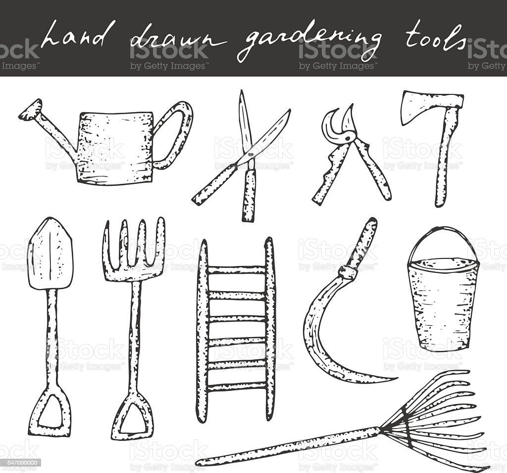 Gardening tools. vector art illustration