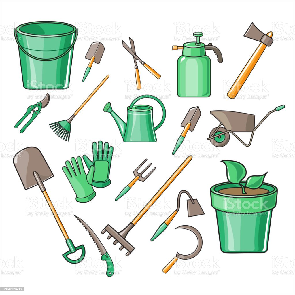 Gardening Tools Vector Illustration Set vector art illustration