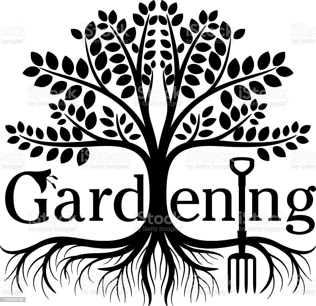 Gardening Tree Symbol vector art illustration