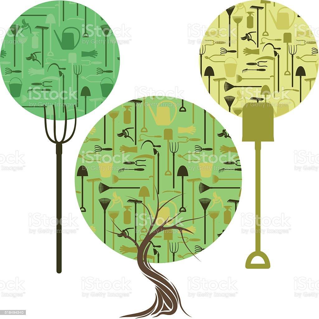 gardening trees vector art illustration