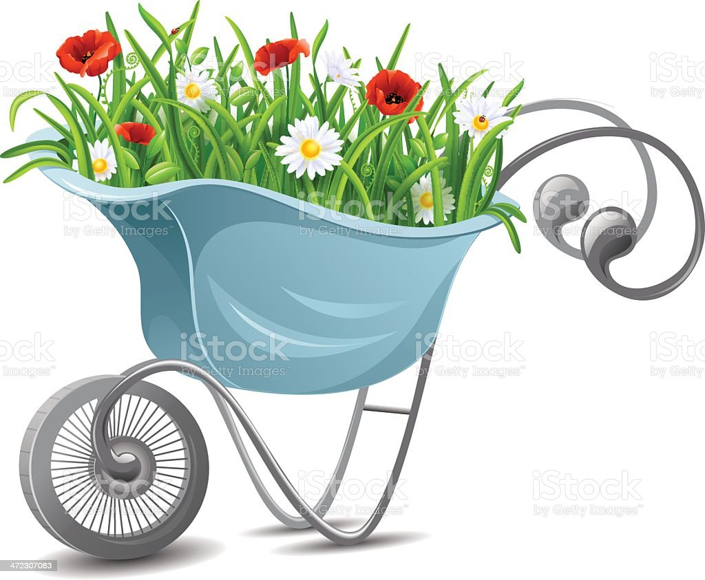 Gardening. Wheelbarrow with flowers royalty-free stock vector art