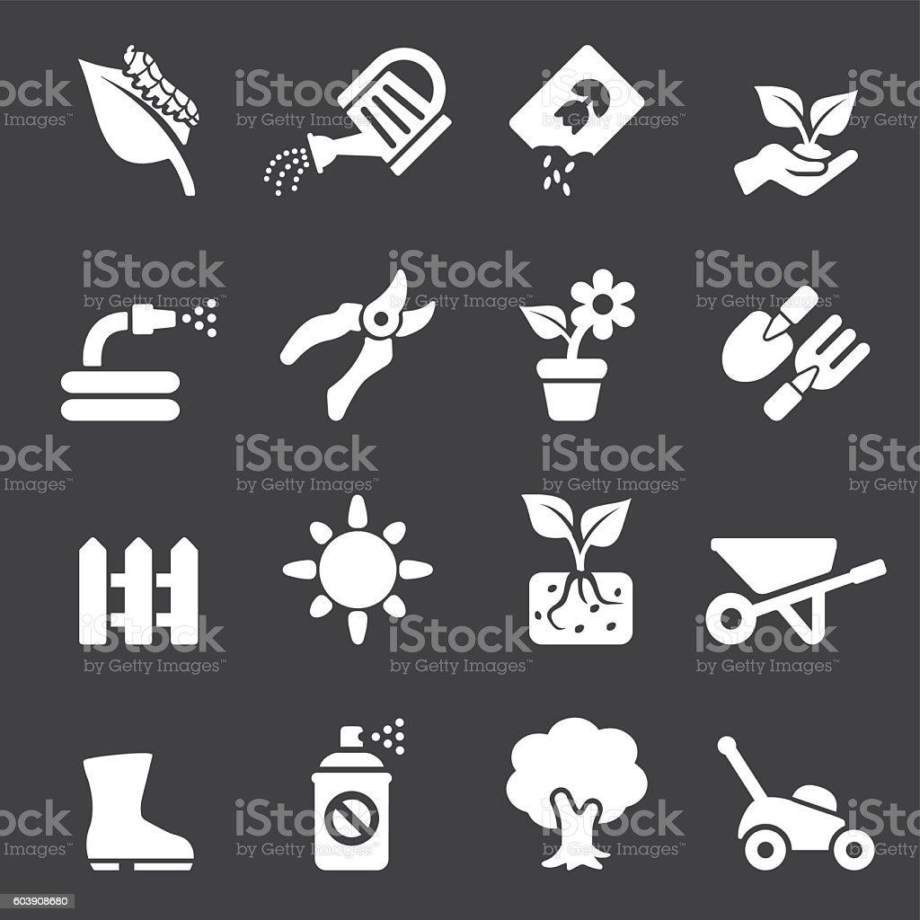 Gardening White Silhouette icons | EPS10 vector art illustration
