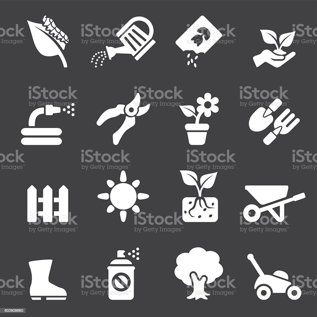 Gardening White Silhouette icons | EPS10 vector art illustration