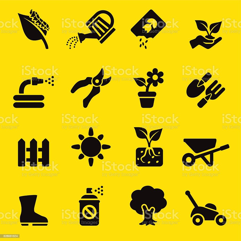 Gardening Yellow Silhouette icons | EPS10 vector art illustration