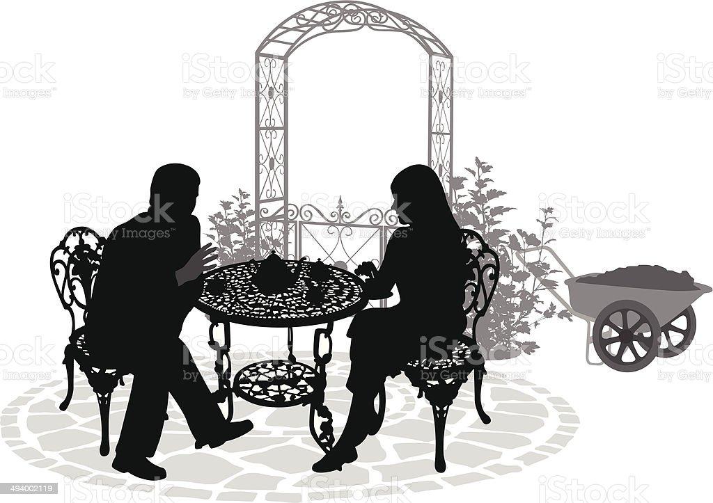 GardenTeaTime vector art illustration