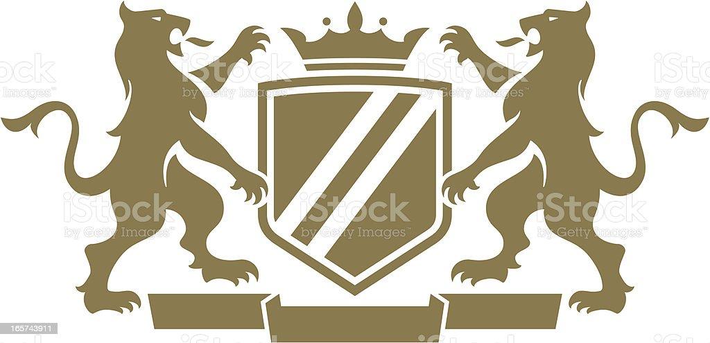 Gargoyal Dragon Crest vector art illustration