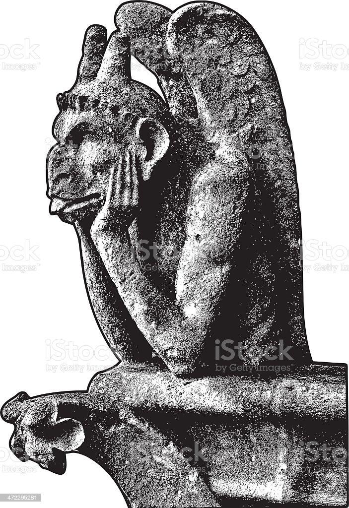 Gargoyle of Notre Dame vector art illustration