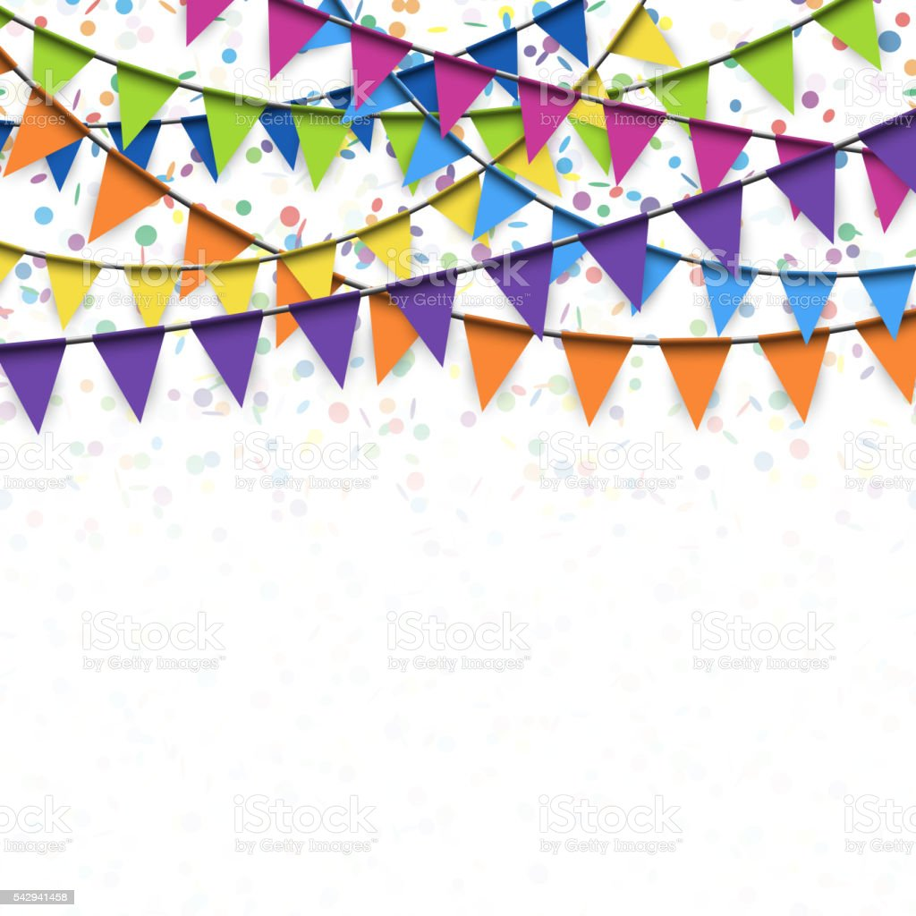 garlands and confetti background vector art illustration