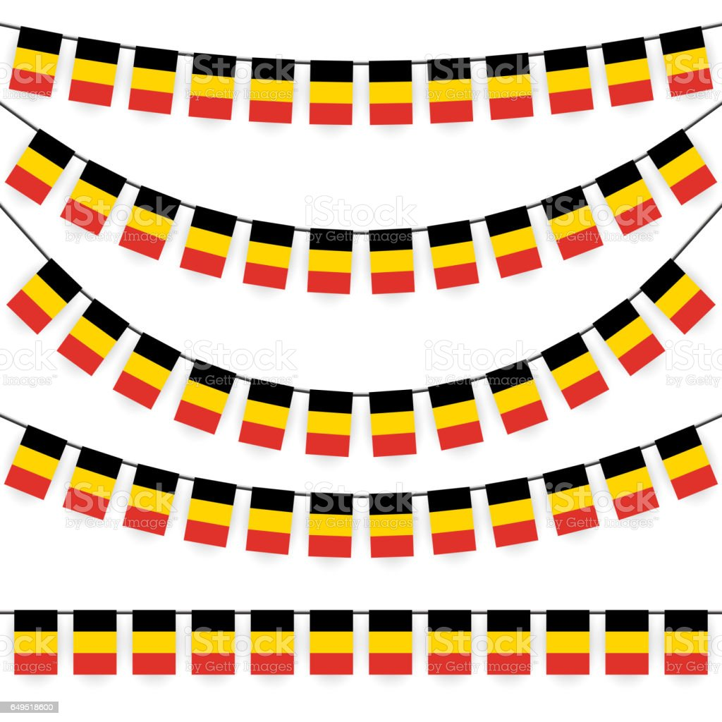 garlands with belgium national colors vector art illustration