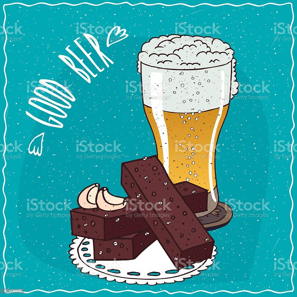 Garlic bread with glass of light beer vector art illustration