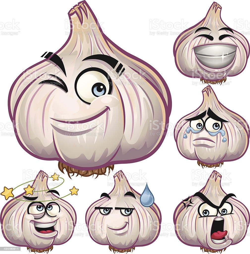 Garlic Cartoon Set A royalty-free stock vector art