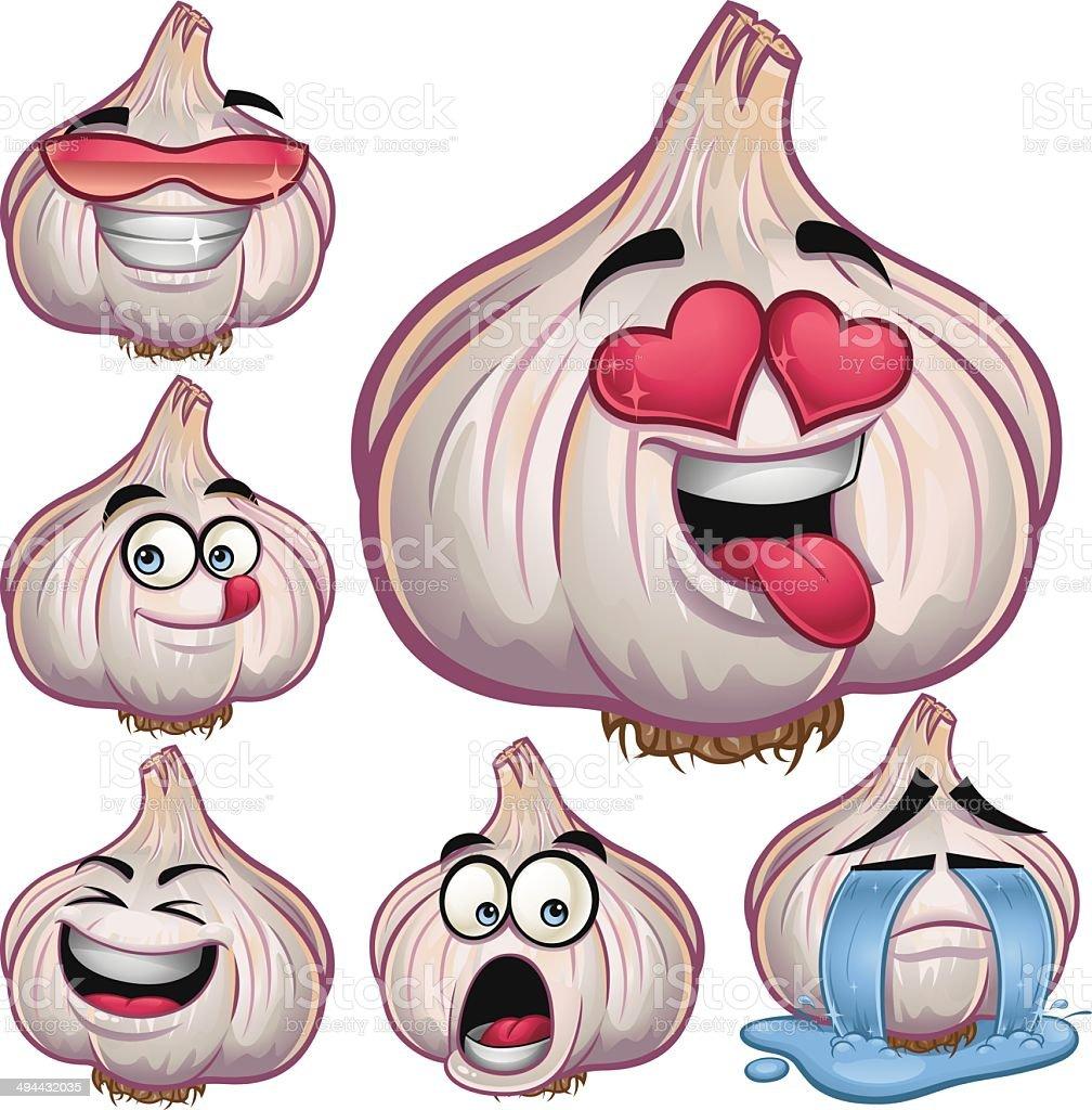 Garlic Cartoon Set B royalty-free stock vector art