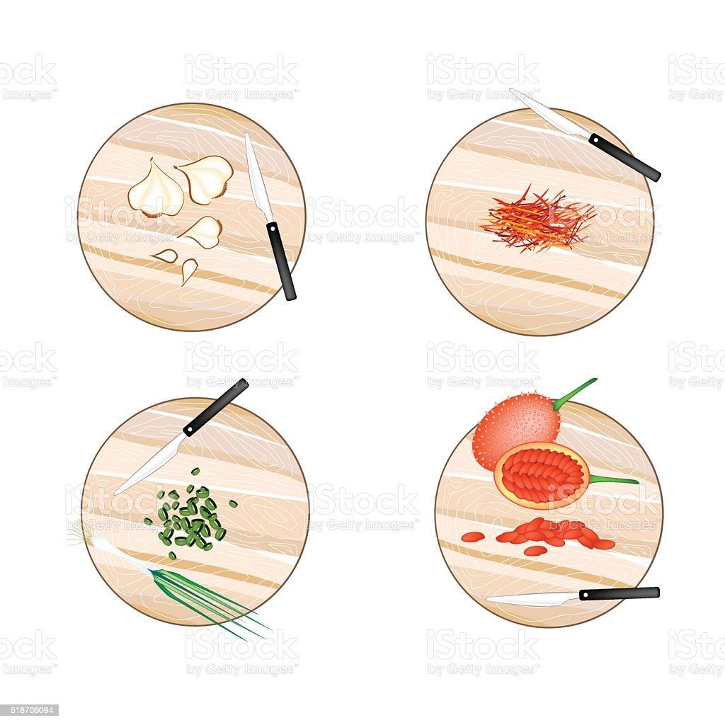 Garlic, Saffron Thread, Scallion and Gac Fruit vector art illustration