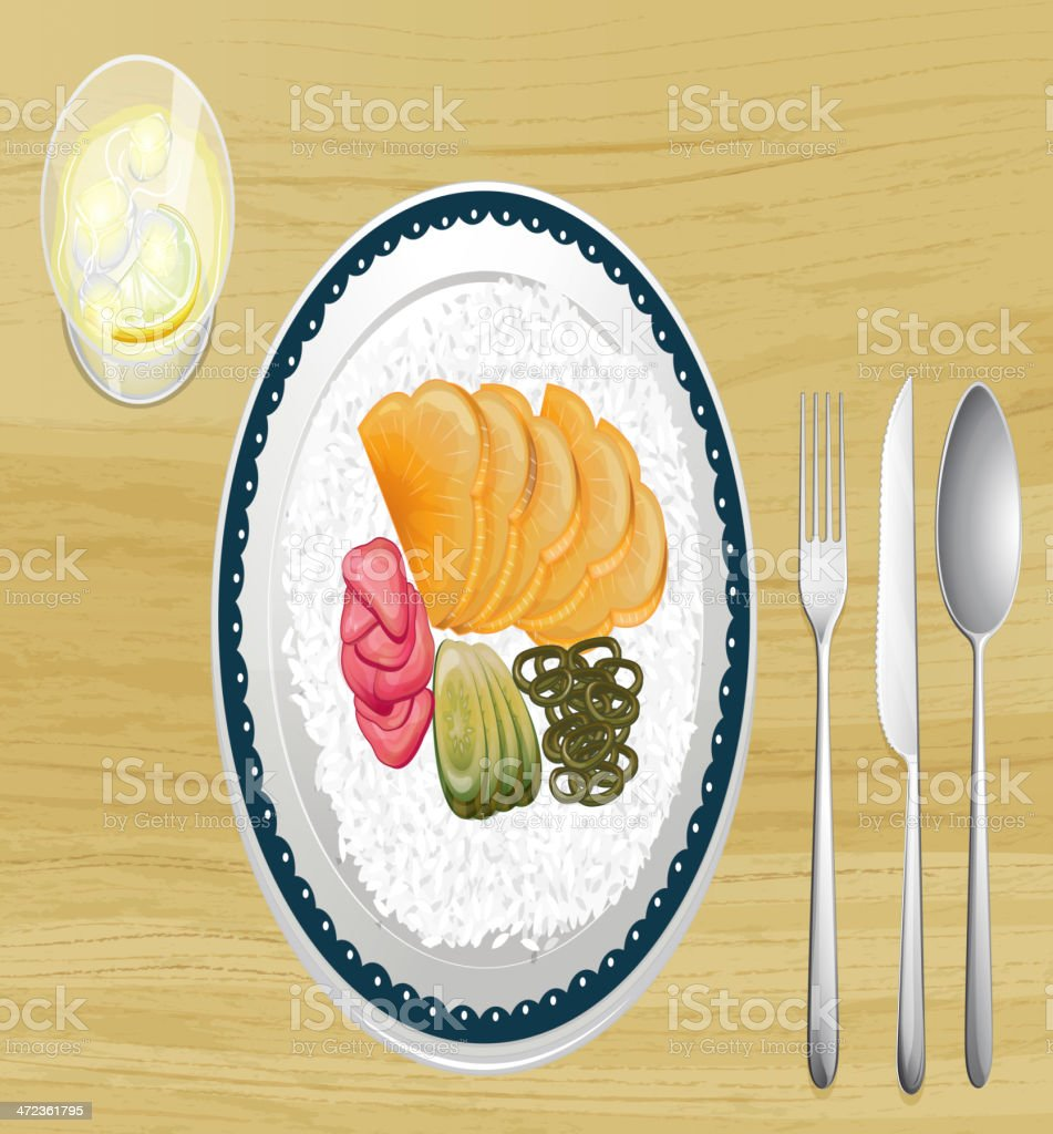 Garnished rice with fruit slices in dish royalty-free stock vector art