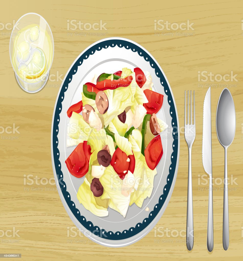 Garnished salad in dish royalty-free stock vector art
