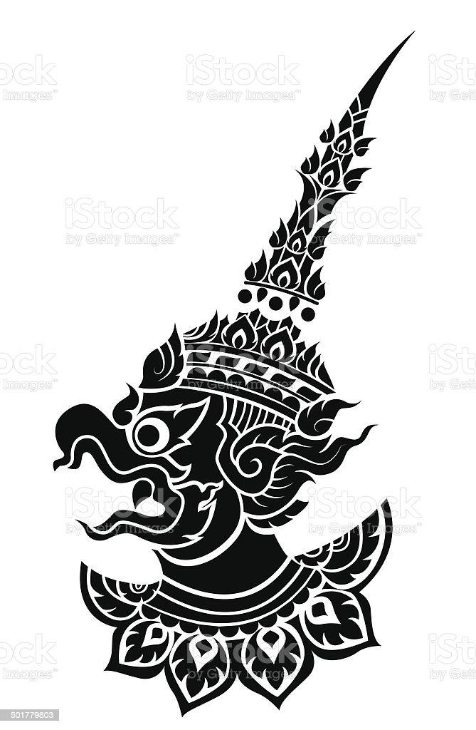 Garuda, King's protective bird vector vector art illustration