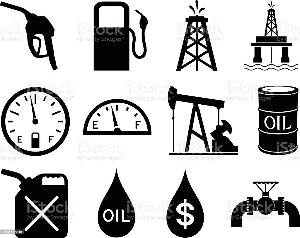 Gas and Oil Icons vector art illustration