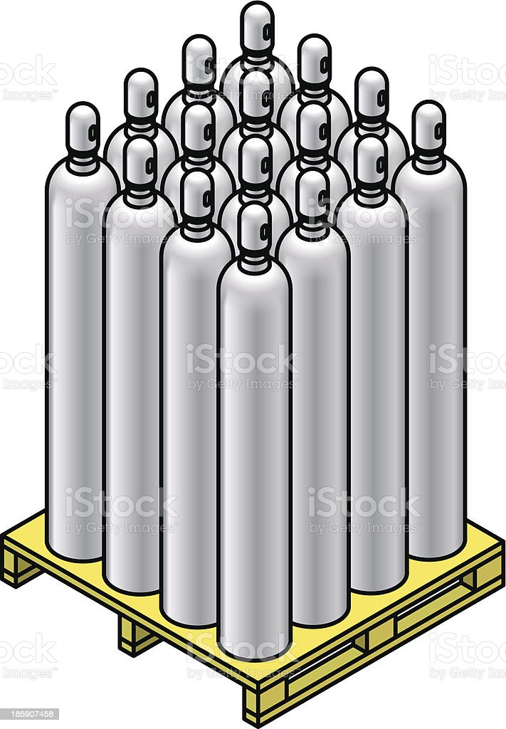 Gas cylinders vector art illustration