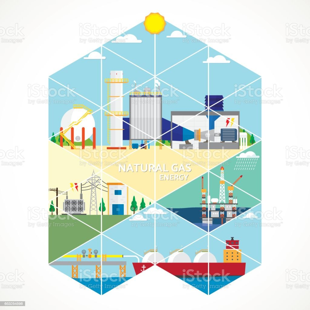 gas energy with triangle graphic vector art illustration