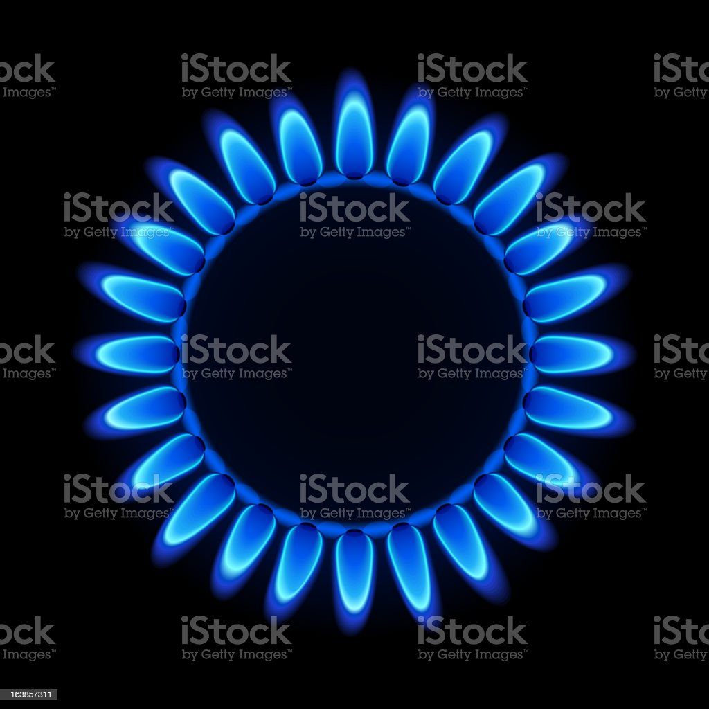 Gas flame on a hob royalty-free stock vector art