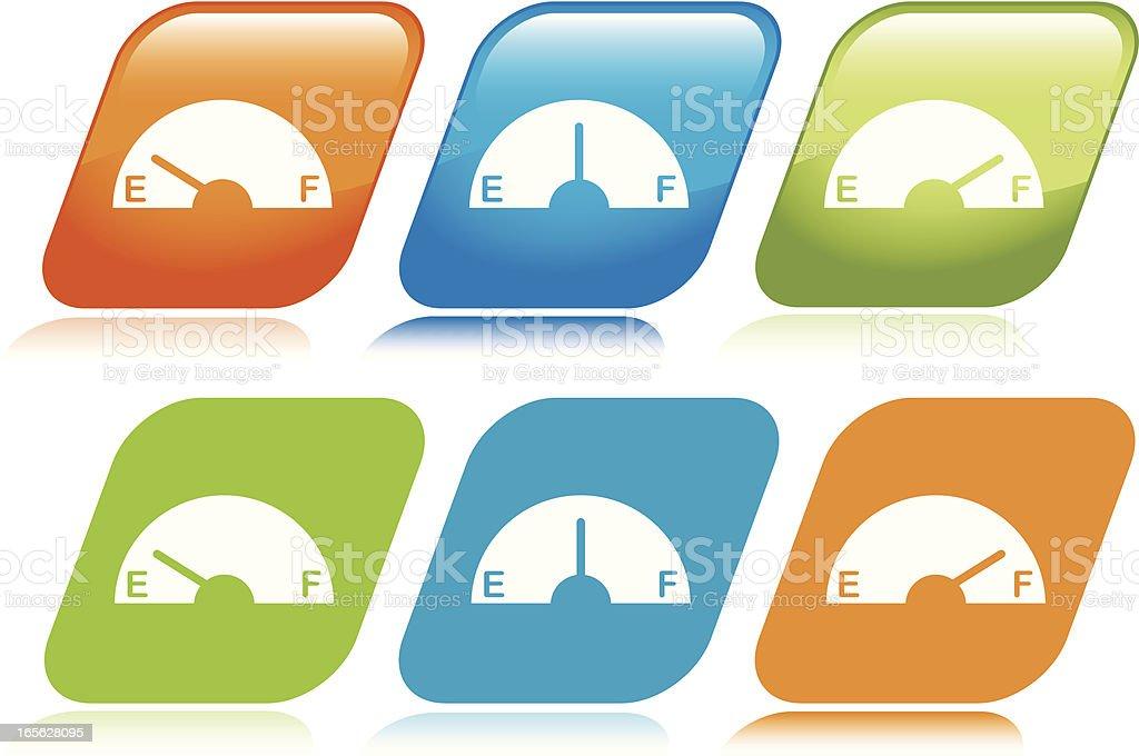 Gas Gauge Icons vector art illustration