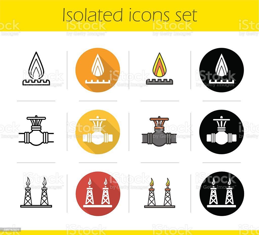 Gas industry icons vector art illustration