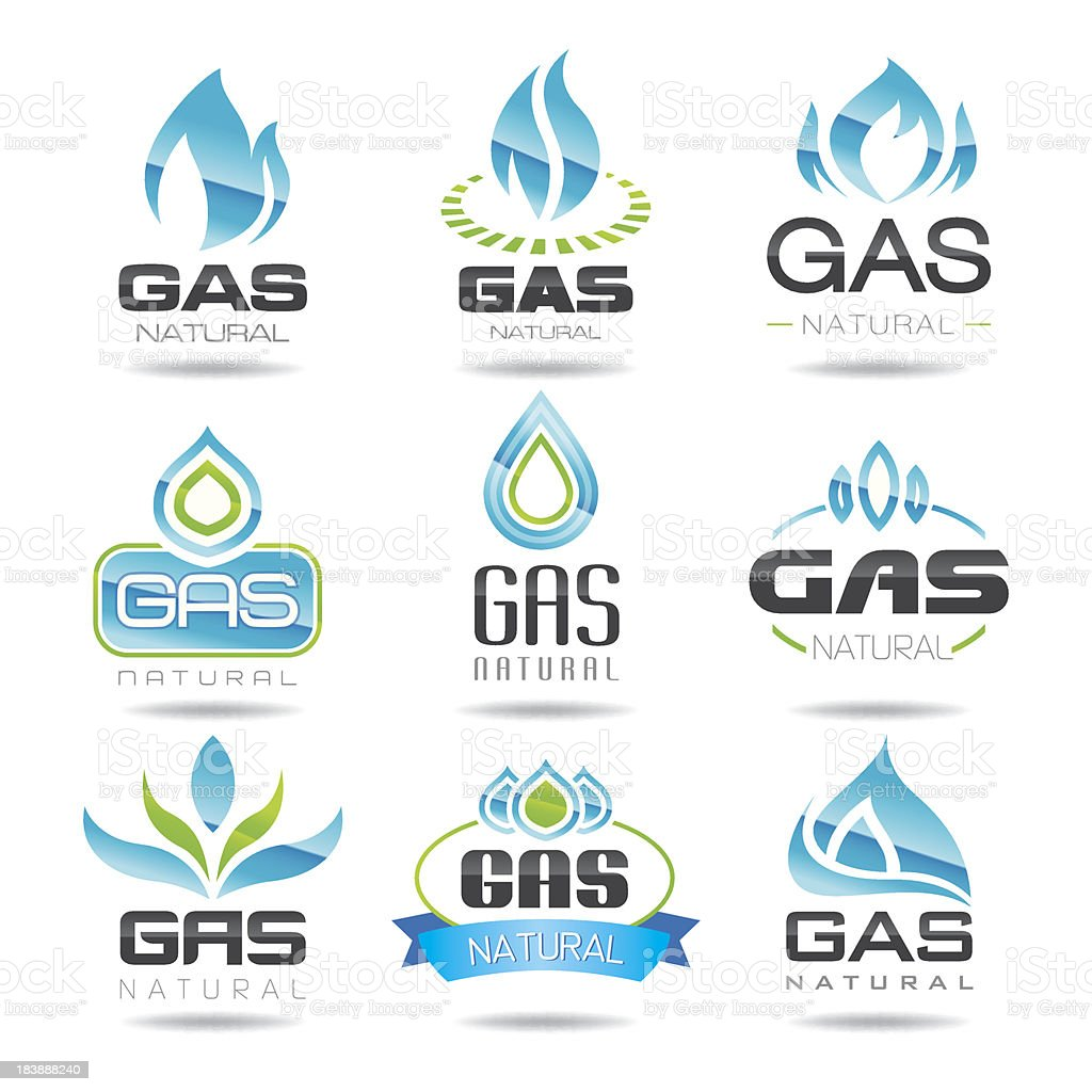 Gas industry symbols vector art illustration