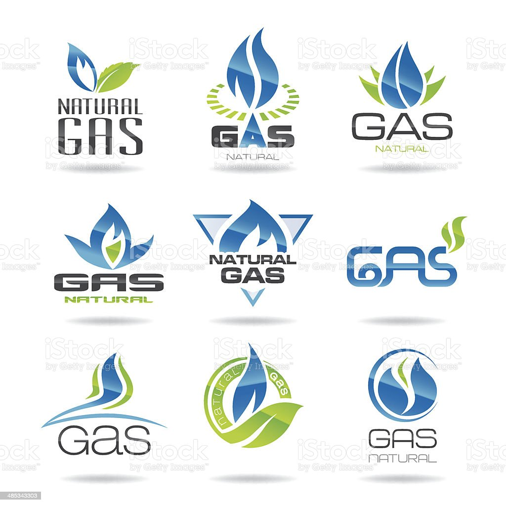 Gas industry symbols-icon vector art illustration