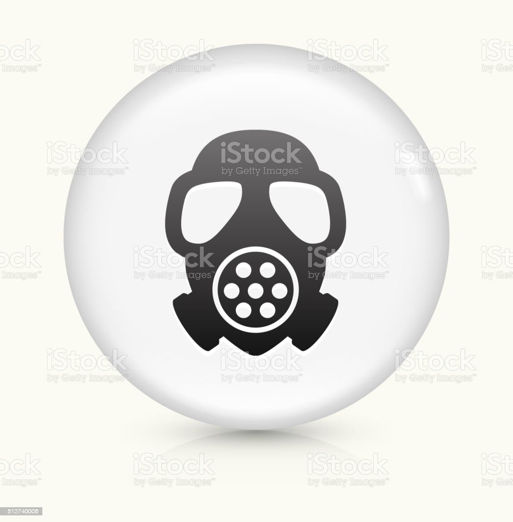 Gas Mask icon on white round vector button vector art illustration